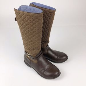 Tommy Hilfiger Brown Quilted Tall Boots Girl's 4